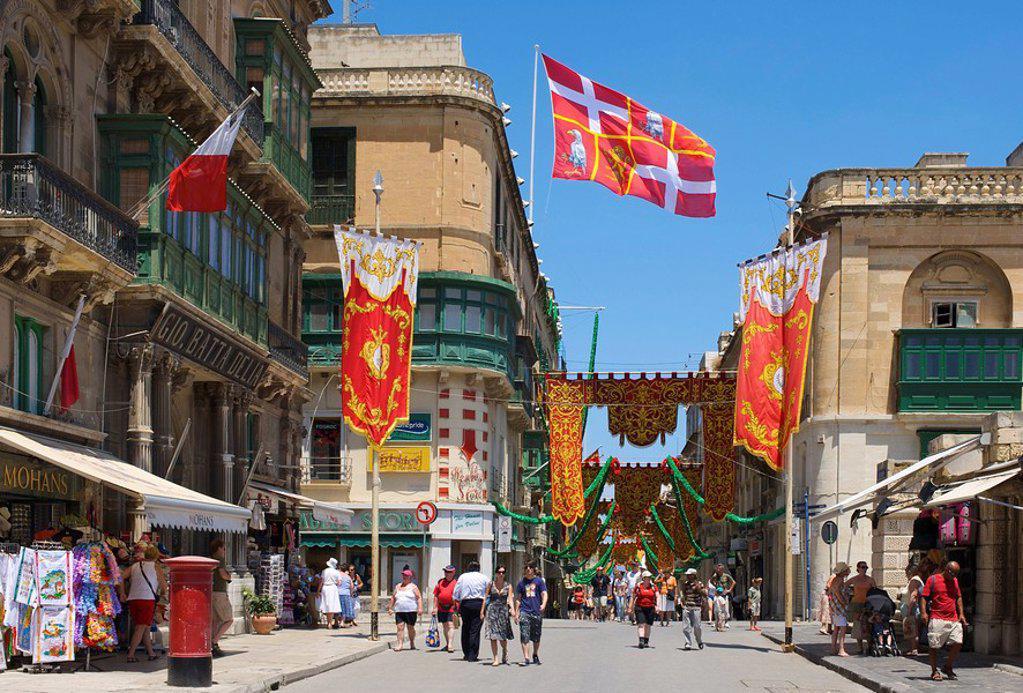 Stock Photo: 1841-10549 Street scene, Valletta, Malta