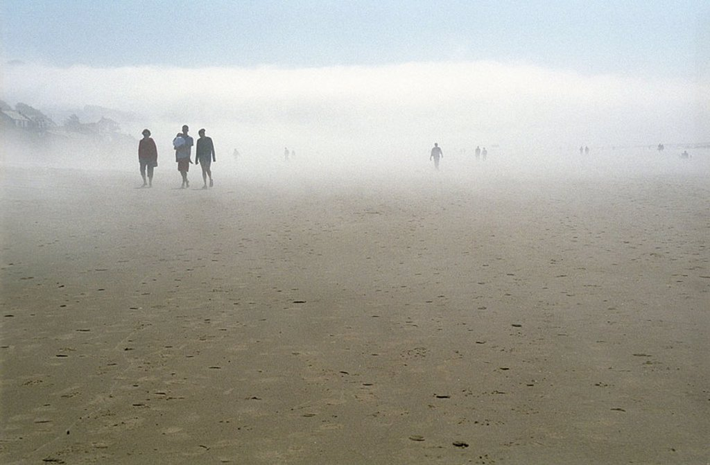 Oregon USA Shore Sand Sea Width Distance Sky Horizon Longing beautiful Nature Landscape empty deserted alone dark sinister Fog foggy Ghosts Figures People Family Man Woman three : Stock Photo
