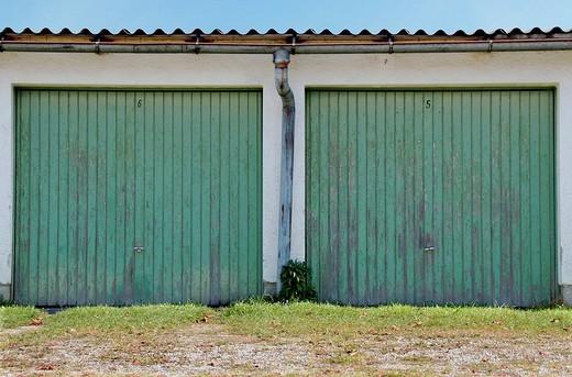 Two garage doors, Rosenheim, Germany : Stock Photo