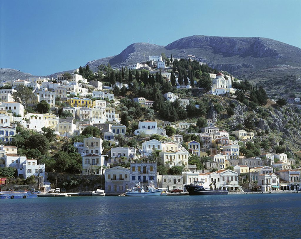 Stock Photo: 1841-1101 Town at waterfront, Dodecanese Islands, Greece