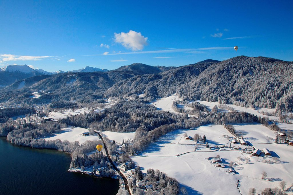Stock Photo: 1841-112157 Hot_air balloons above Tegernsee Valley, Bavaria, Germany, aerial shot