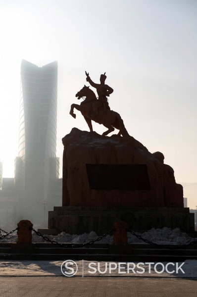 Equestrian statue in Ulan Bator, Mongolia : Stock Photo