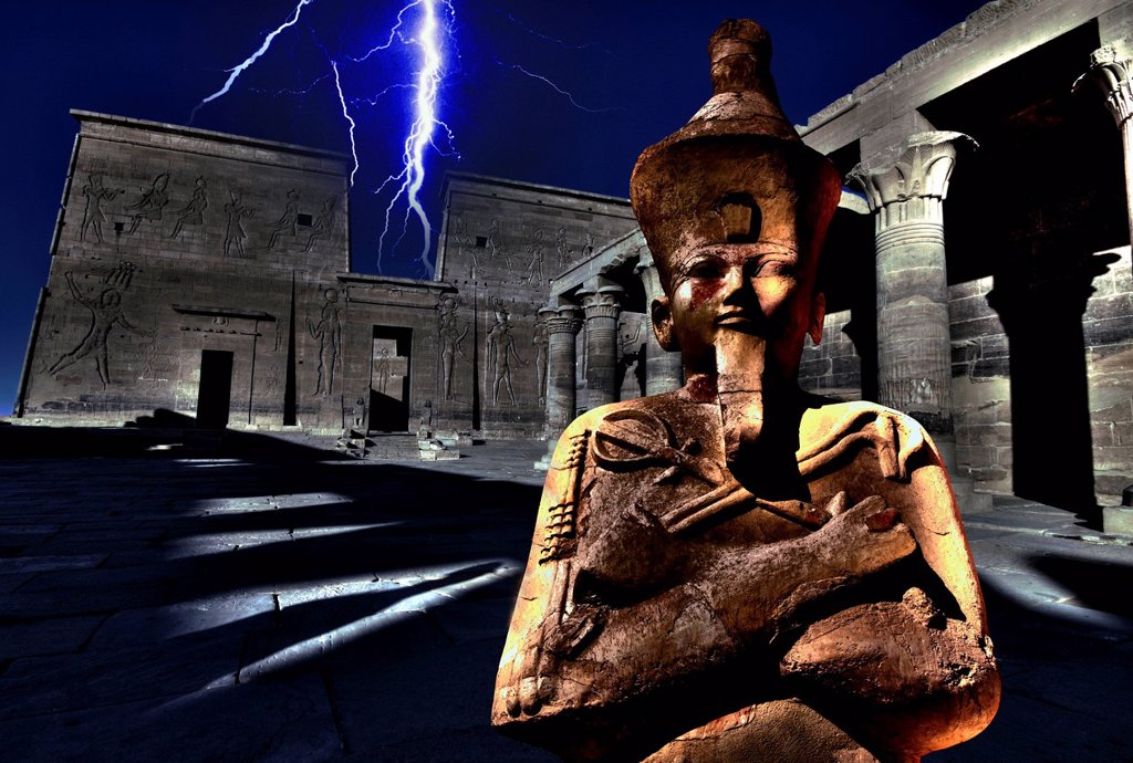 Stock Photo: 1841-117700 Montage of lightnings above the Philae Temple and Osiris Statue in the Temple of Hatschepsut, Egypt