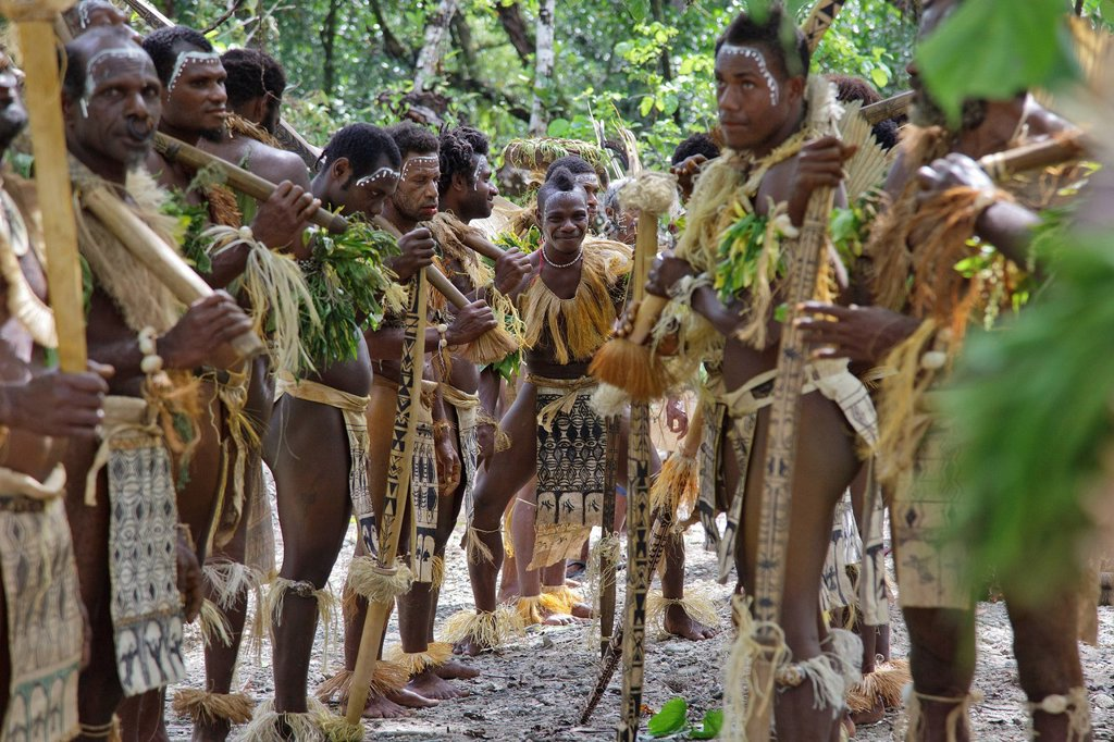 Stock Photo: 1841-118270 Primitive people, Nendo, Santa Cruz Island, Solomon Islands, Melanesia, Oceania