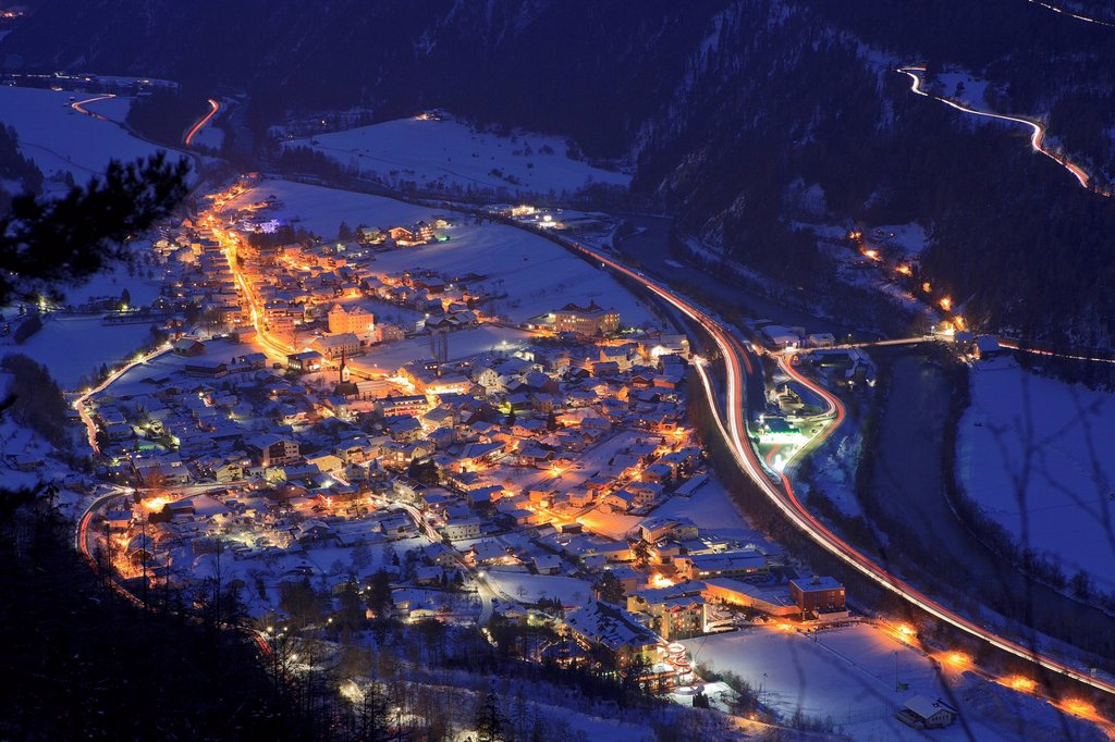 Ried in Oberinntal at night, Austria : Stock Photo