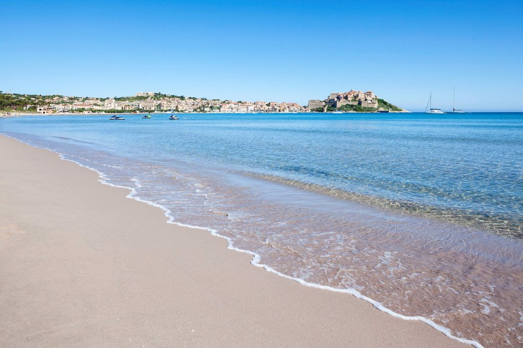 Stock Photo: 1841-119423 Sand beach at the gulf of Calvi, Corsica, France