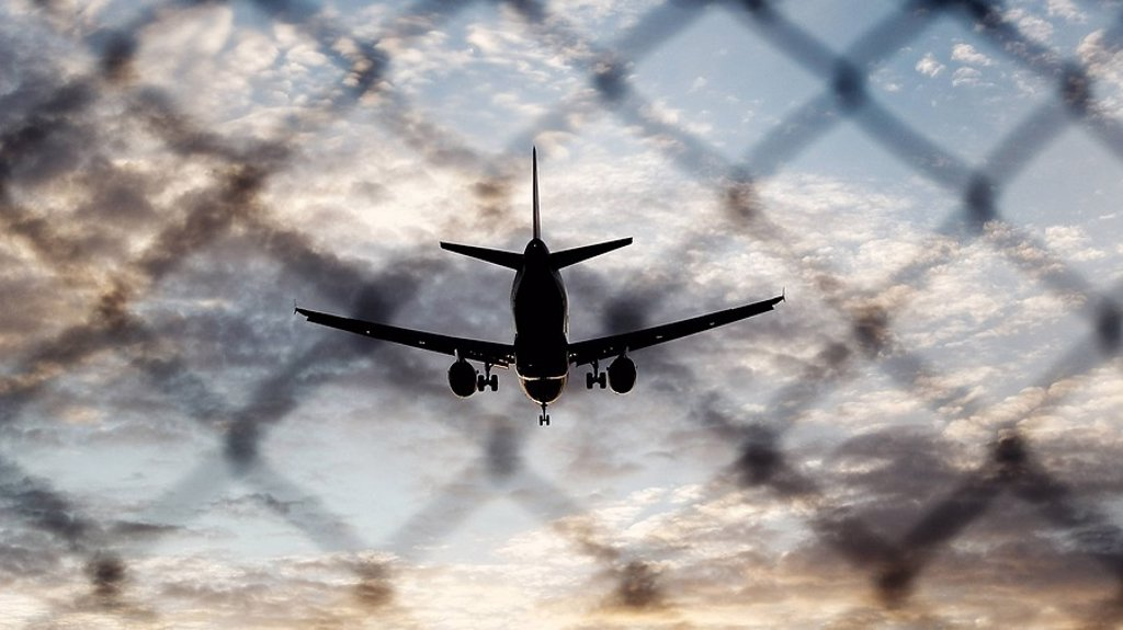 Silhouette of airplane : Stock Photo