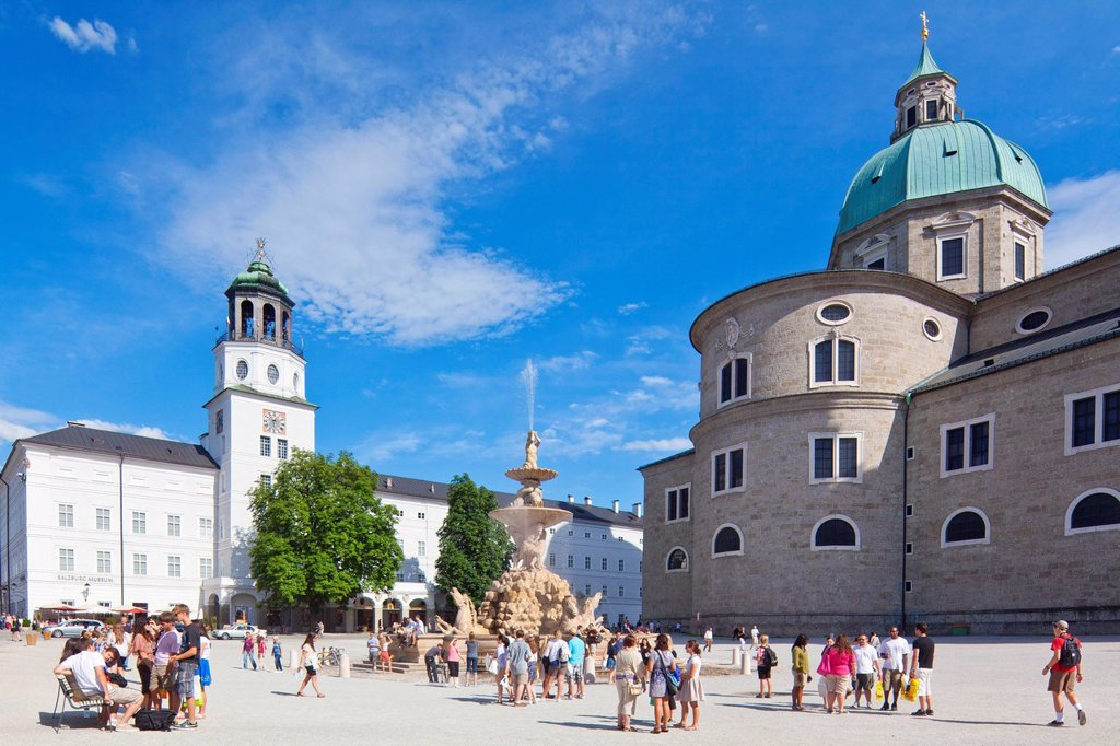 Tourists on the Residenz Square, Salzburg, Austria : Stock Photo