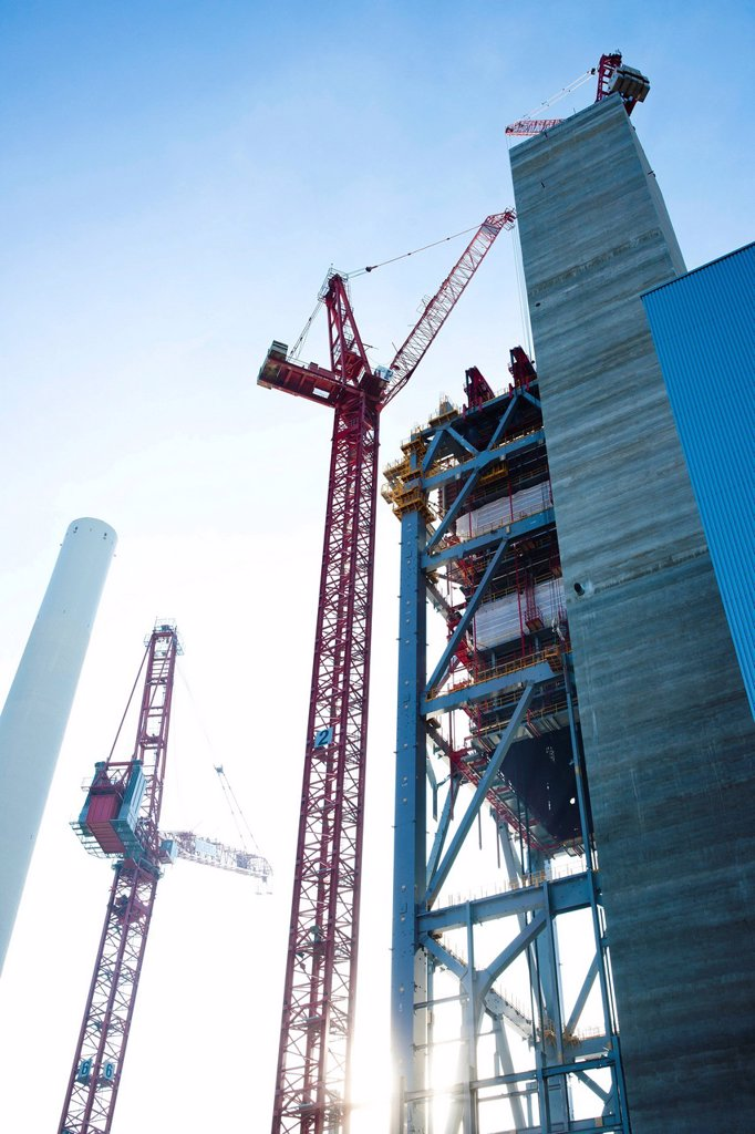 New construction of the block 9 in the power plant Mannheim, Germany : Stock Photo