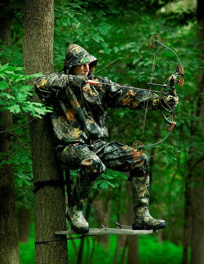 huunter aiming with his bow : Stock Photo