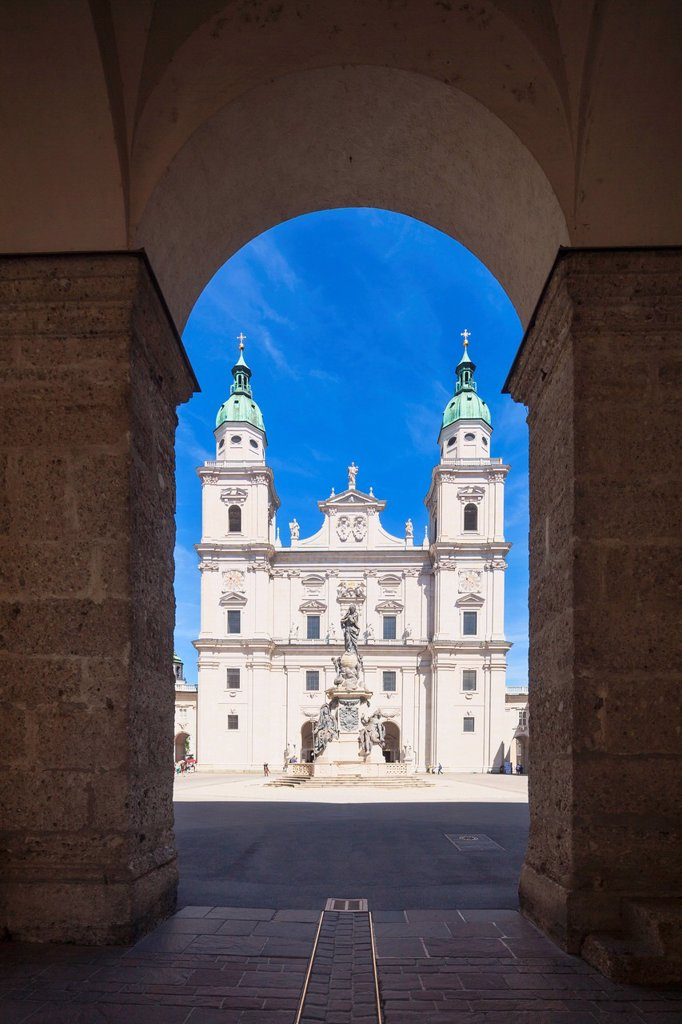 Dome square with Dome and Marian column, Salzburg, Austria : Stock Photo