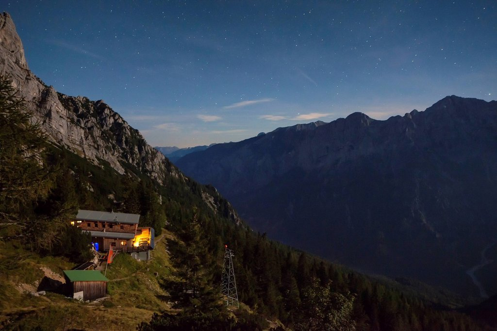 Stock Photo: 1841-122398 Refuge Buchsteinhaus in the Gesaeuse above the Enns Valley, Styria, Austria
