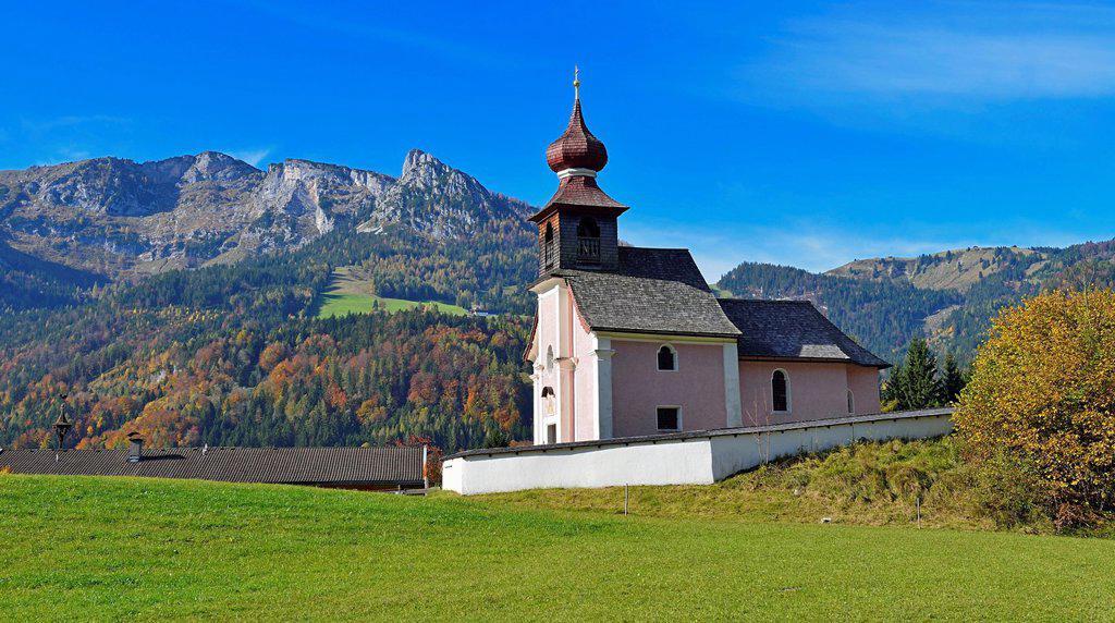 Stock Photo: 1841-122983 Chapel on alpine meadow, Au bei Lofer, Tyrol, Austria