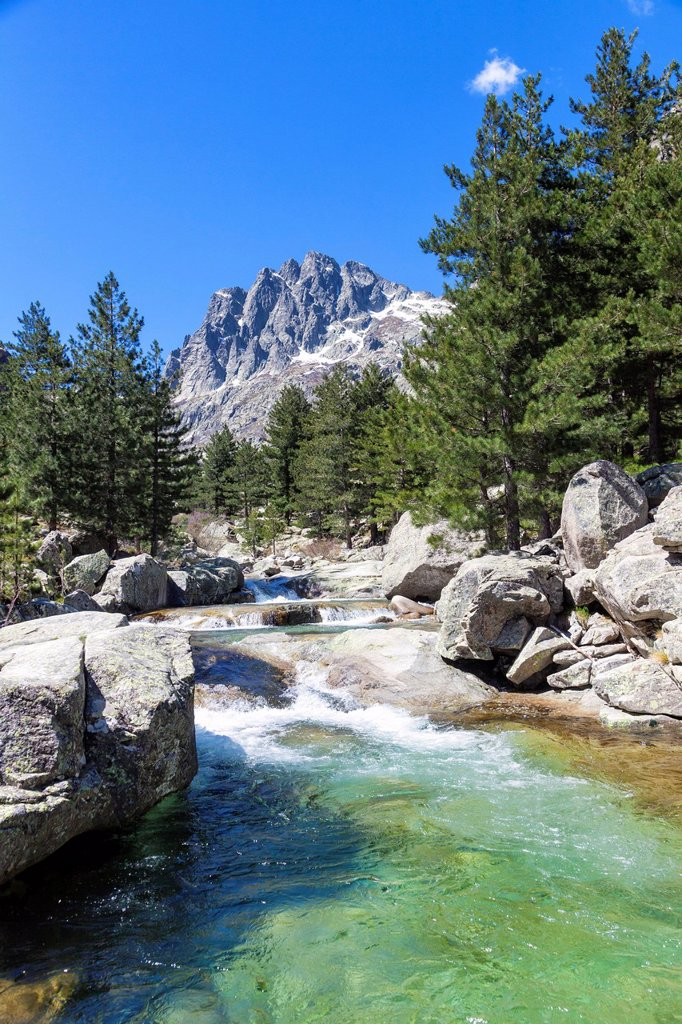 Stock Photo: 1841-123759 Mountain stream in the Restonica Valley, Corsica, France
