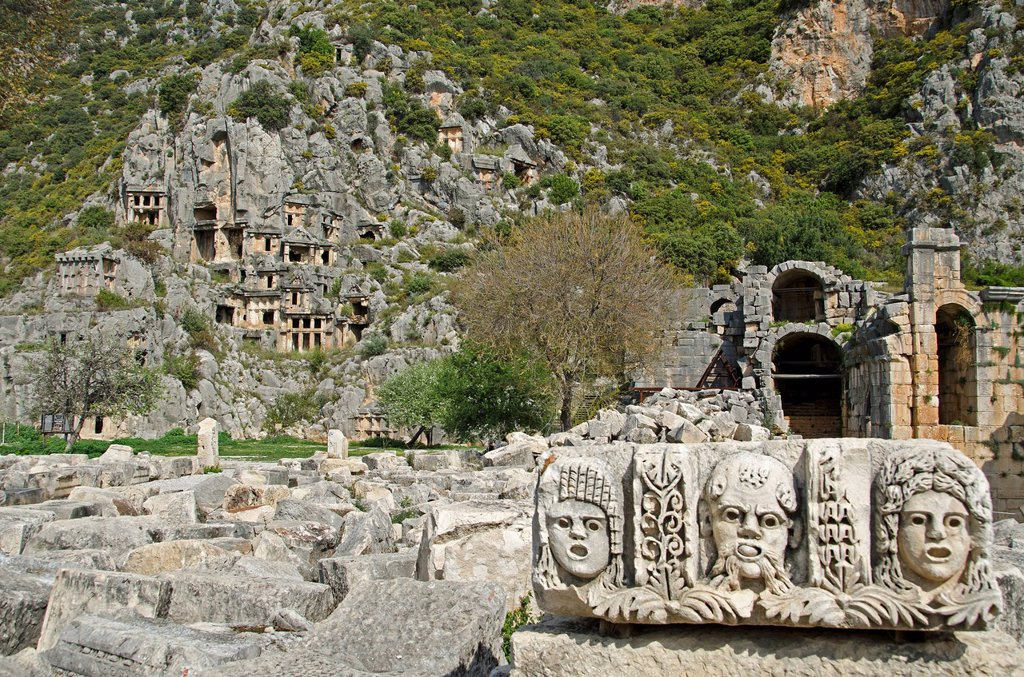 Stock Photo: 1841-123909 Rock tombs and theater masks made of stone in Myra, Turkey