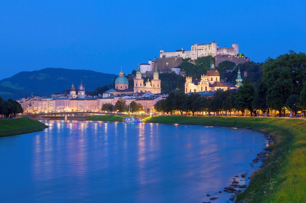 View above the Salzach towards the old town of Salzburg, Austria : Stock Photo