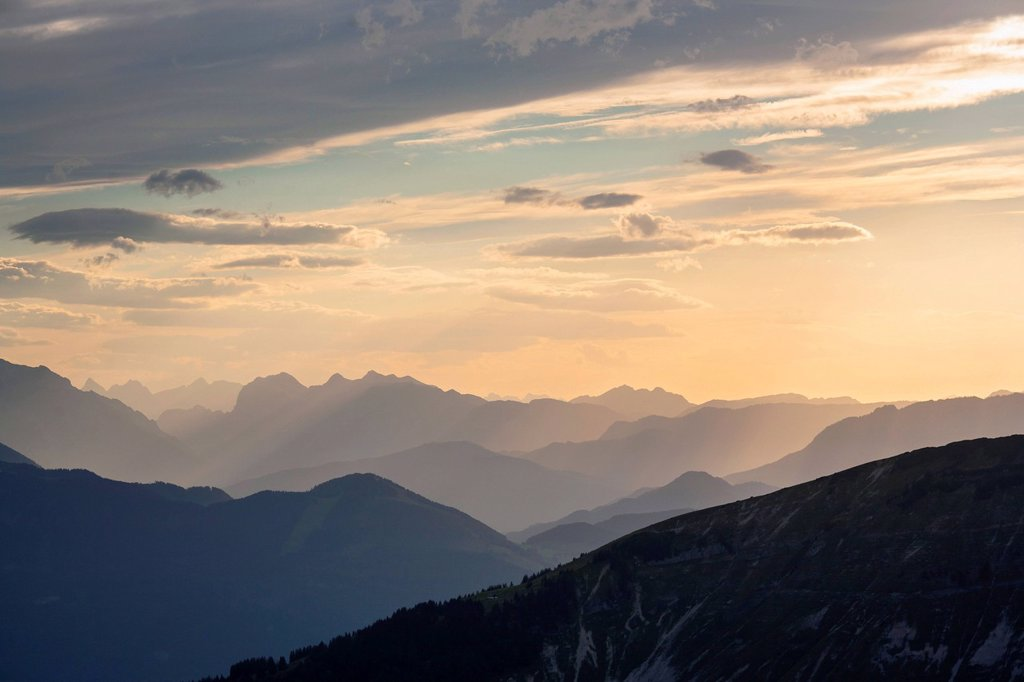 View above the Salzach Valley to the Berchtesgaden Alps : Stock Photo