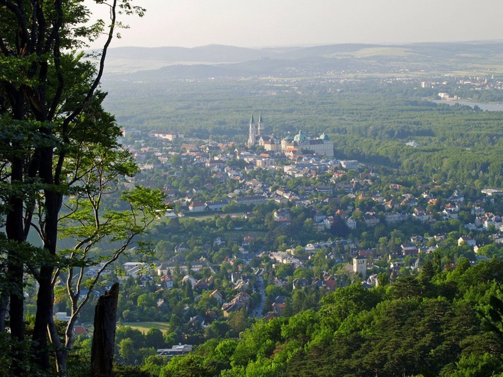 Aerial view of town on landscape, Klosterneuburg, Lower Austria, Austria : Stock Photo