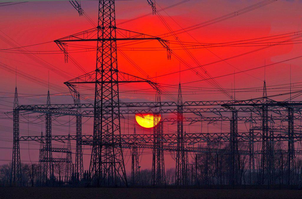 Stock Photo: 1841-131441 Headline: Transformer station Rommerskirchen at sunset, North Rhine-Westphalia, Germany