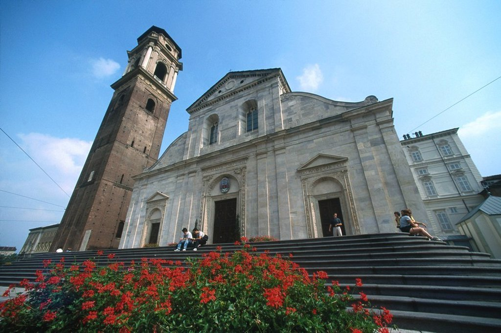Stock Photo: 1841-13151 Low angle view of cathedral, Church Of Saint John Baptist, Piazza Del Duomo, Turin, Piedmont, Italy