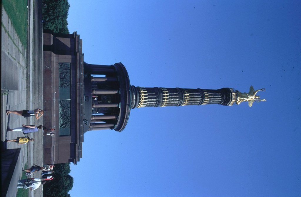 Tourists near monument, Angel on Victory Column, Tiergarten Park, Berlin, Germany : Stock Photo