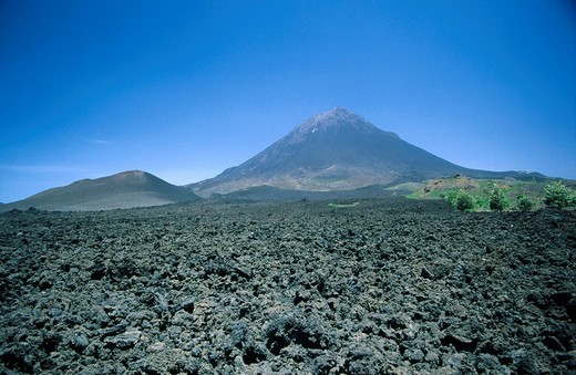 Volcanic lava near mountain, Pico Do Fogo, Fogo Island, Cape Verde Islands : Stock Photo
