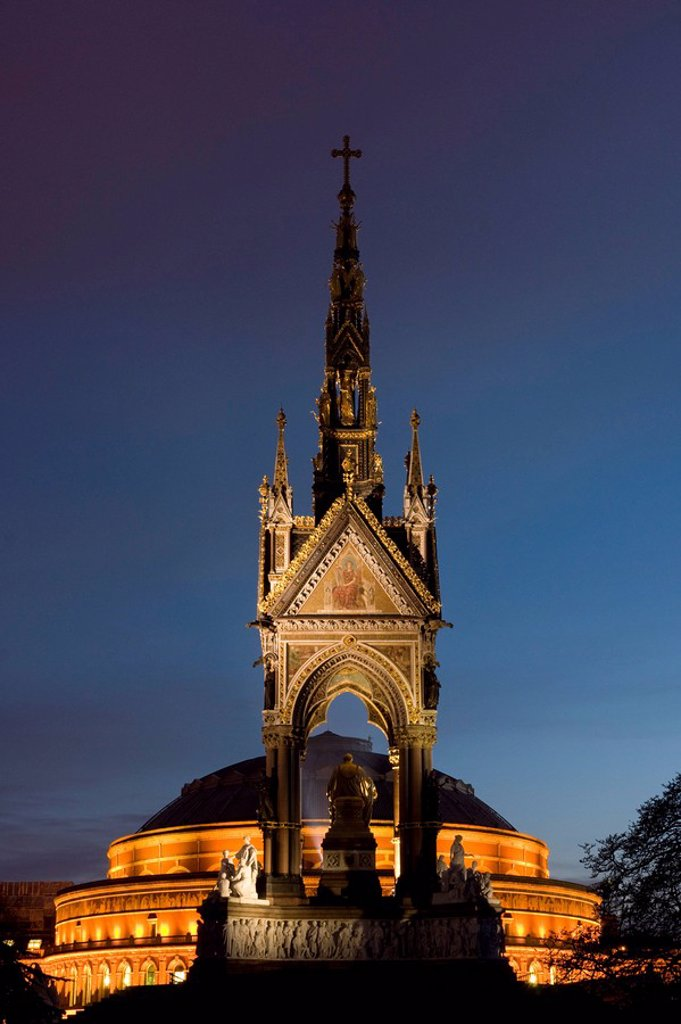 Stock Photo: 1841-13309 Memorial at night, Albert Memorial, Kensington Gardens, Knightsbridge, Kensington and Chelsea, Greater London, England