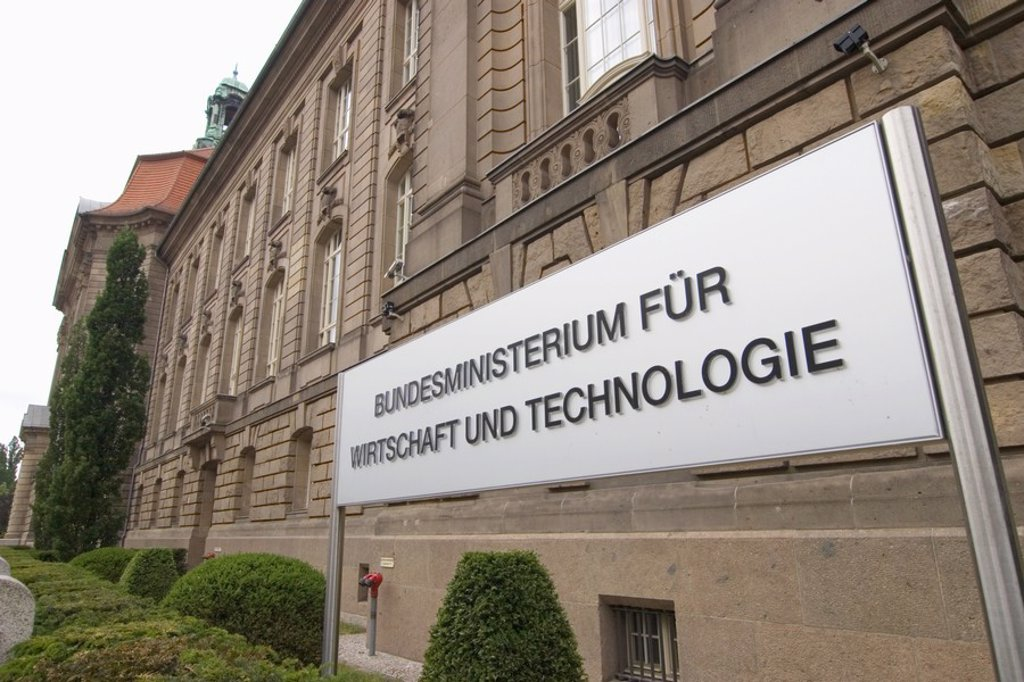 Stock Photo: 1841-15613 Information board on government building, Federal Ministry For Economy And Technology, Berlin, Germany