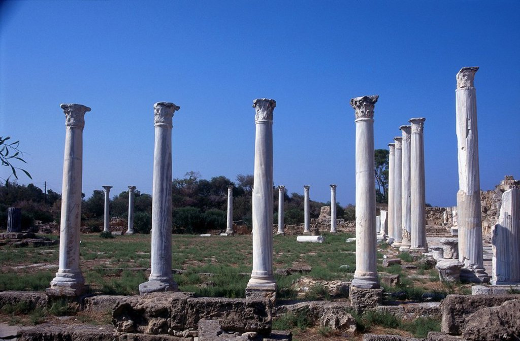 Stock Photo: 1841-1568 Ruins of columns, Salamis, Cyprus