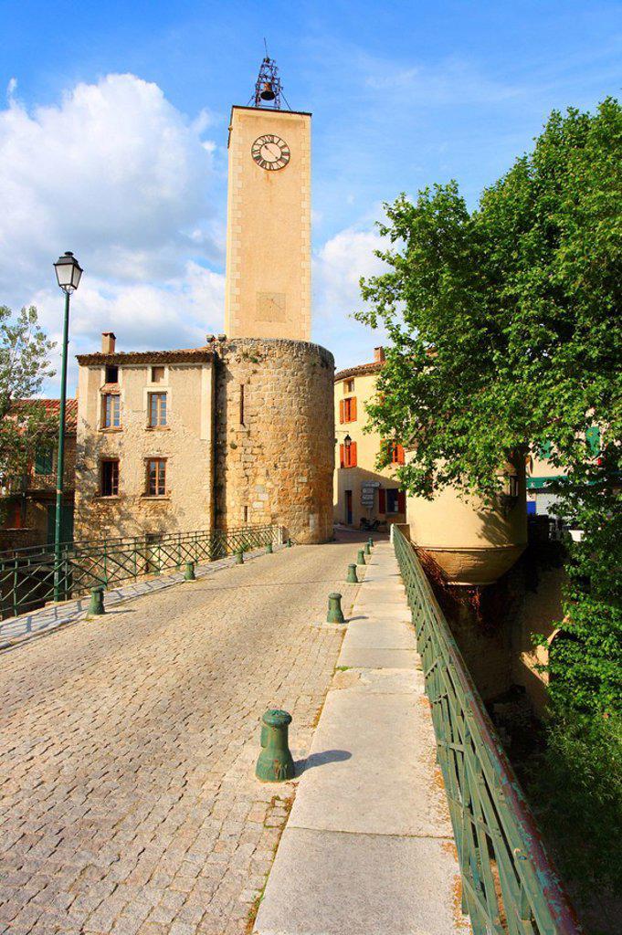 Stock Photo: 1841-15863 Cobblestone street leading to belltower, Mollans_Sur_Ouveze, Vaucluse, Provence_Alpes_Cote d´Azur, France