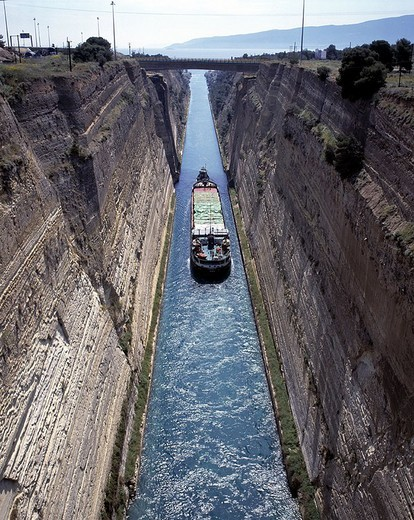 High angle view of cargo ship sailing in canal : Stock Photo