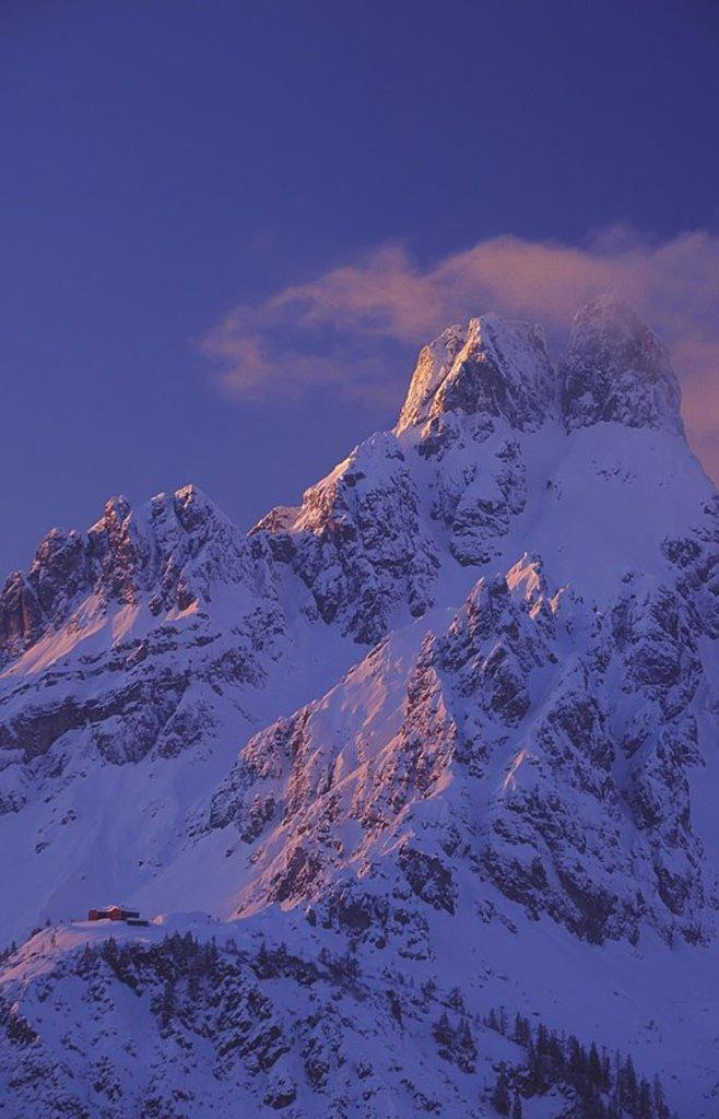 Clouds over snowcovered mountain, Filzmoos, St. Johann im Pongau, Salzburg, Austria : Stock Photo