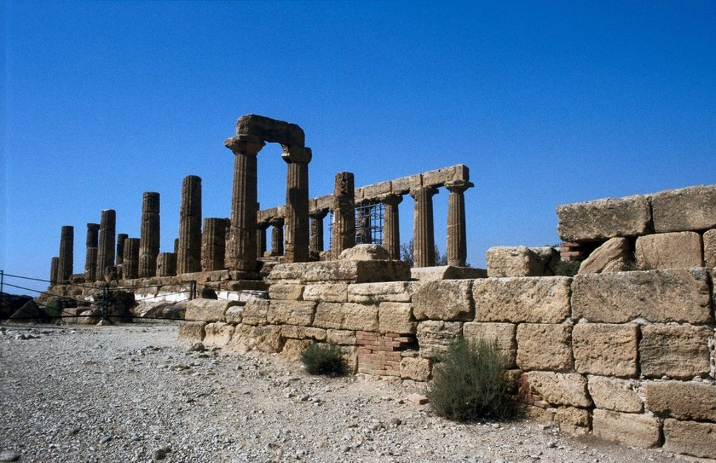 Old ruins of temple, Agrigento, Sicily, Italy : Stock Photo