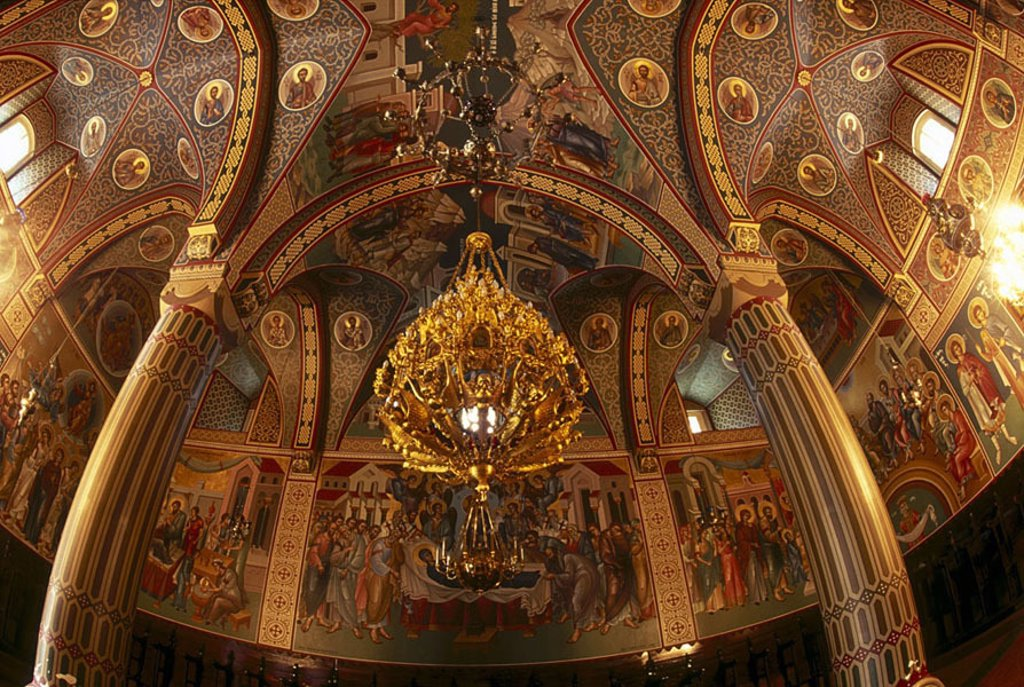 Chandelier hanging on ceiling of church, Cyprus : Stock Photo