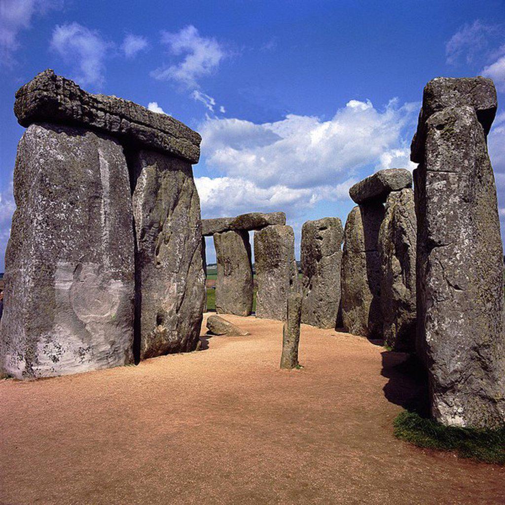 Megalithic monuments on a landscape, Stonehenge, Wiltshire, England : Stock Photo