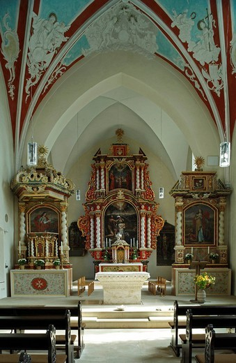 Interior view of a church, Rieste, Germany : Stock Photo