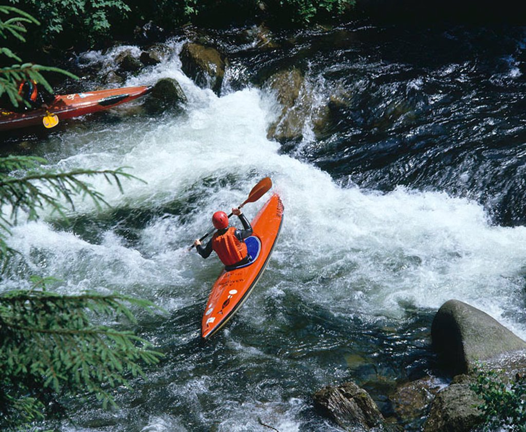 Kayak rider in river, Lower Saxony, Germany : Stock Photo