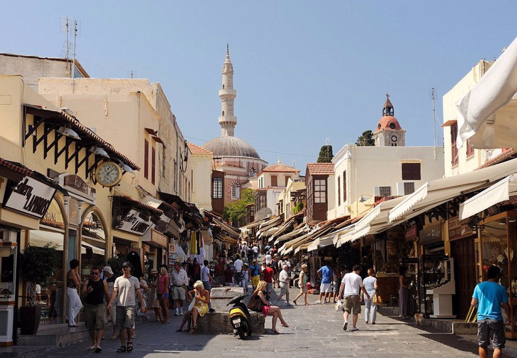 Shopping street in the old town of Rhodes, Greece : Stock Photo