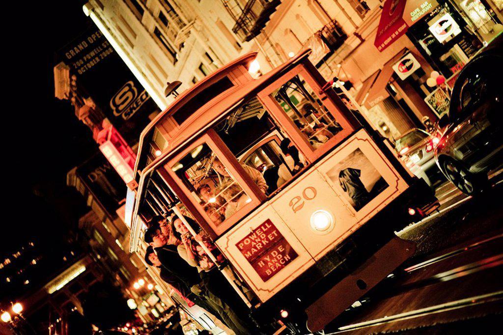 Tram in San Francisco, USA, slanted : Stock Photo