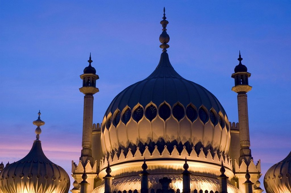 Onion domes lit up at night, Sussex, England : Stock Photo