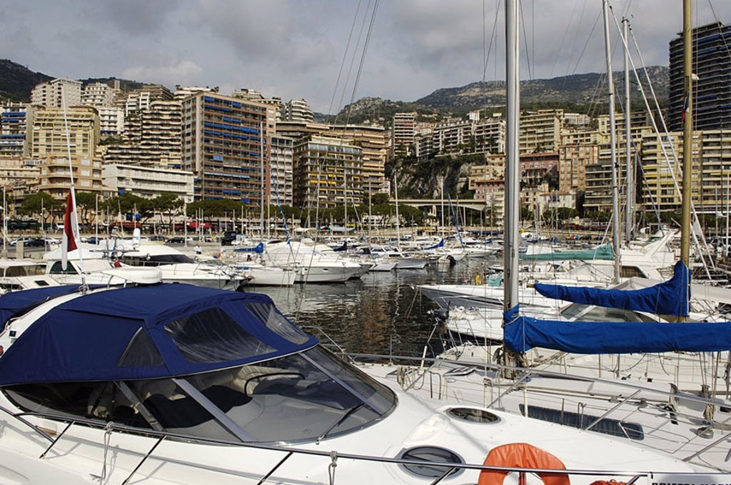 Boats moored at harbor, Monaco : Stock Photo