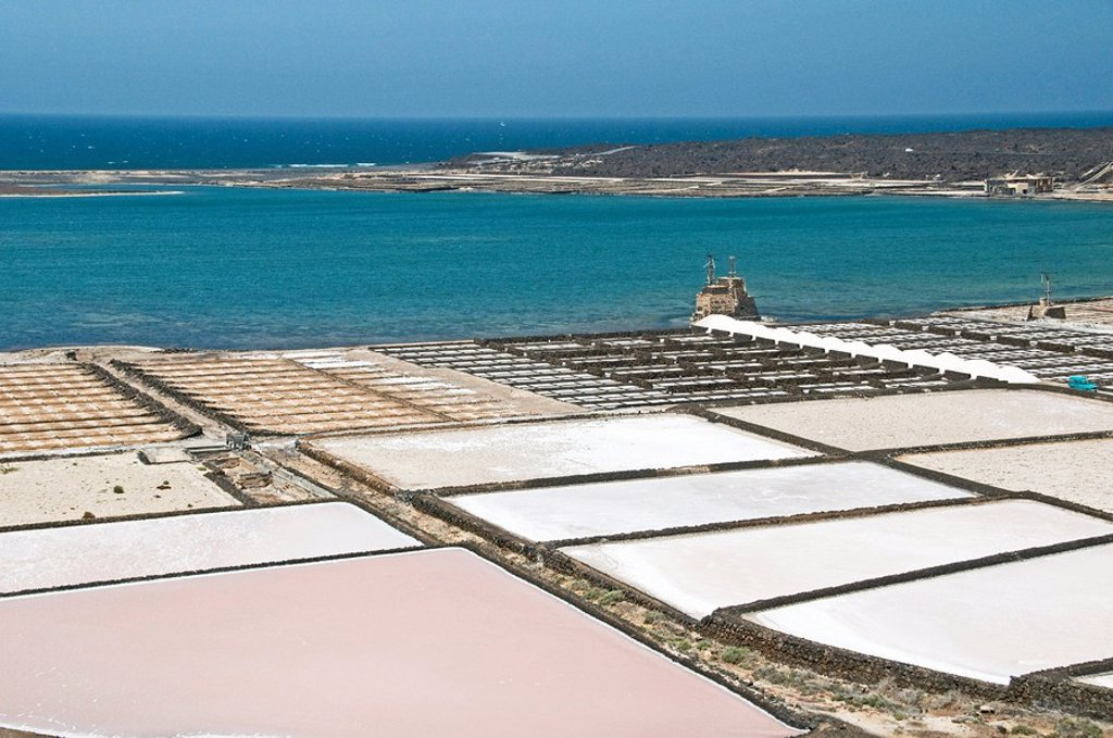 Stock Photo: 1841-21418 Salinas de Janubio, Lanzarote, Spain, elevated view