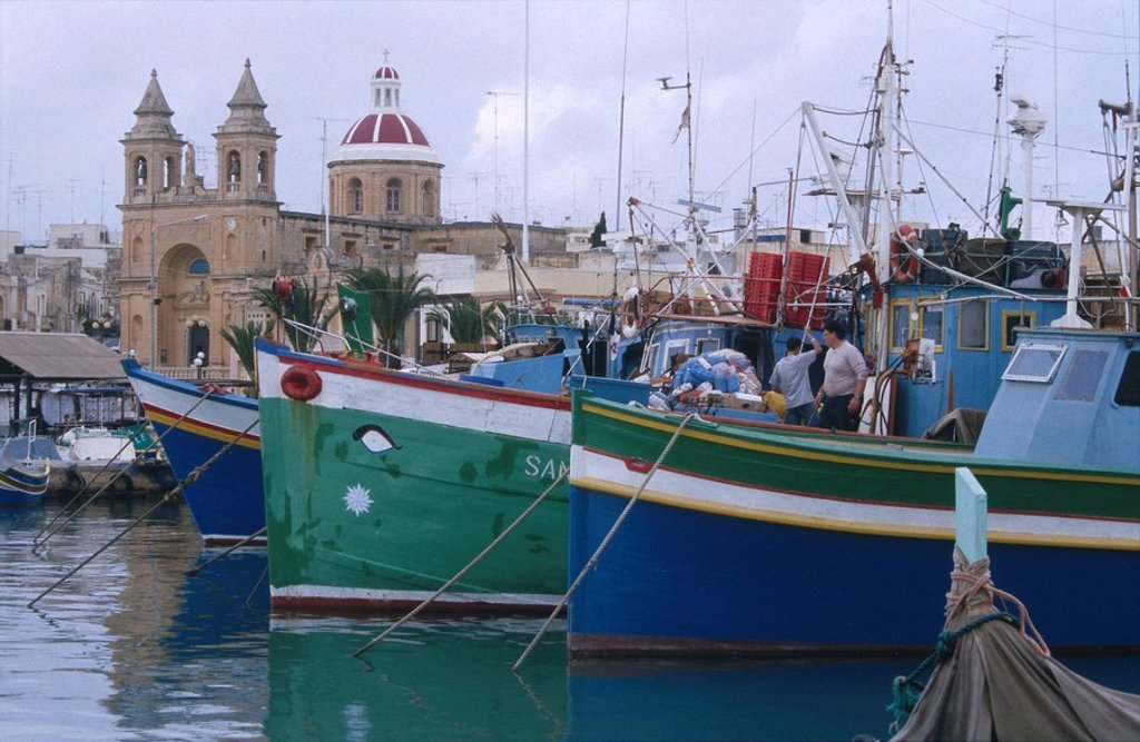 Fishing boats at harbor, Marsaxlokk, Malta : Stock Photo