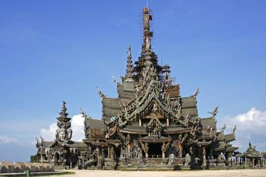 Stock Photo: 1841-21495 Facade of temple, Sanctuary Of Truth, Rachvate Cape, Pattaya, Thailand