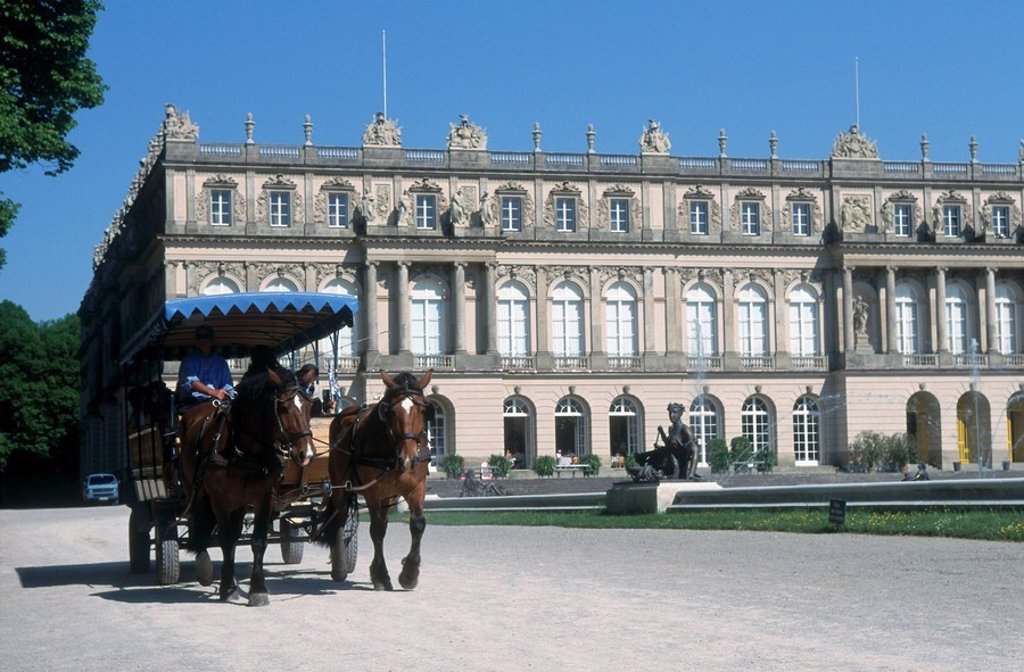 Horsedrawn carriage in front of castle, Herrenchiemsee Castle, Herreninsel, Bavaria, Germany : Stock Photo