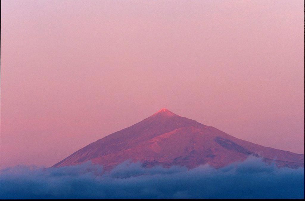 Panoramic view of mountain peak, Tenerife, La Gomera, Canary Islands, Spain : Stock Photo