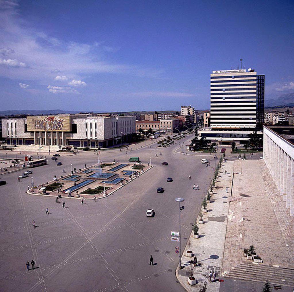 Buildings in city, Skandenberg Square, Tirana, Albania : Stock Photo