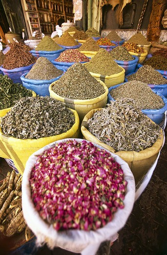 Stock Photo: 1841-22505 Assorted spices in street market, Morocco