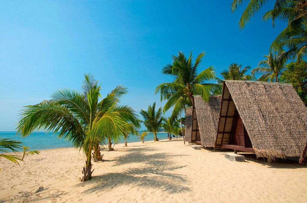 Beach huts, Lamai Beach, Ko Samui, Thailand : Stock Photo