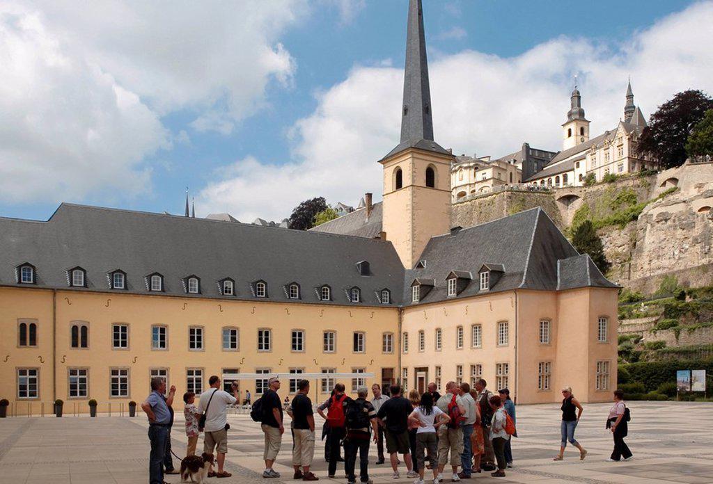 Abbey Neumuenster and St. Johanneskirche, Grund, Luxemburg, Europe : Stock Photo